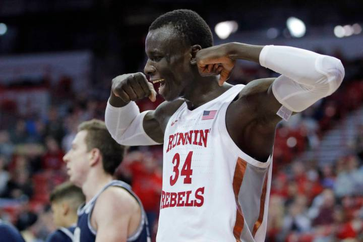UNLV's Mbacke Diong (34) reacts after a play against Utah State during the second half of an NC ...