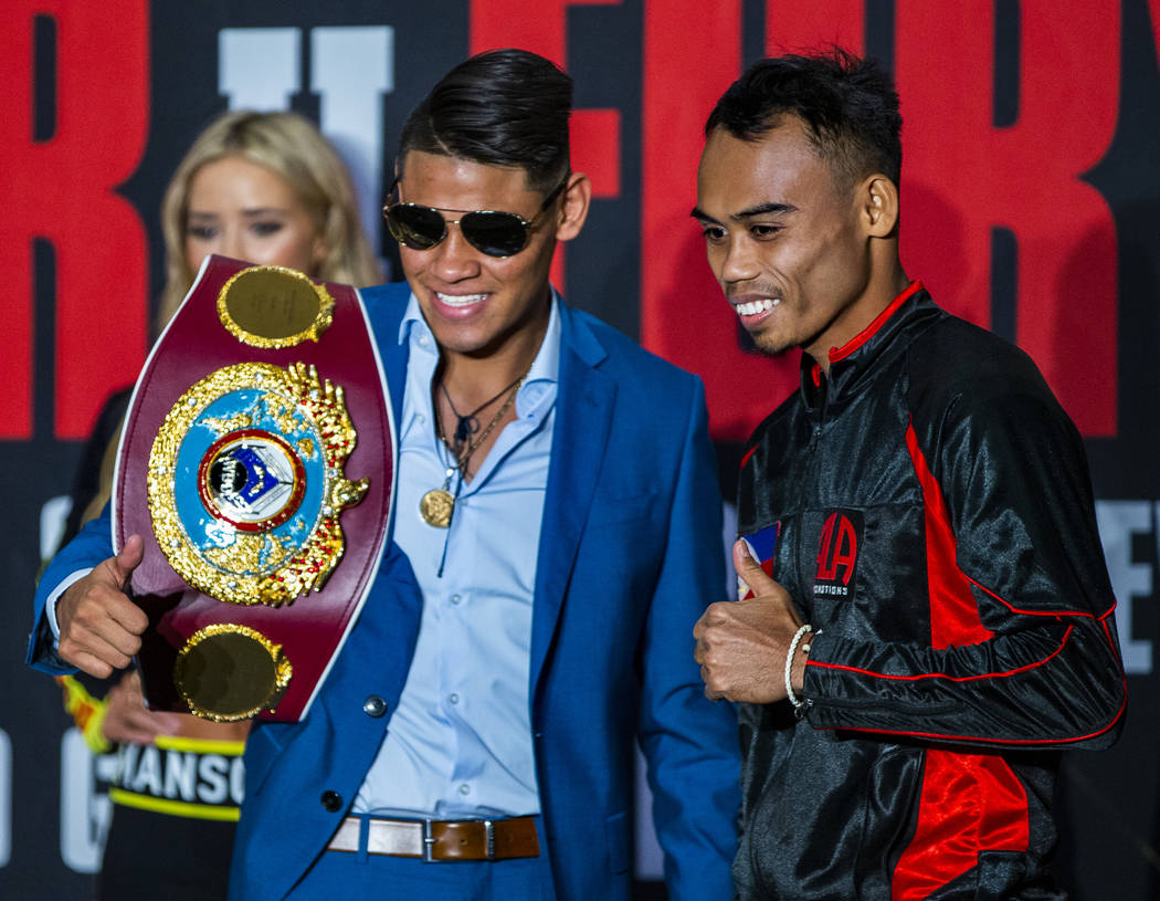 WBO super bantamweight title fighters Emanuel Navarrete, left) and Jeo Tupas Santisima on the s ...