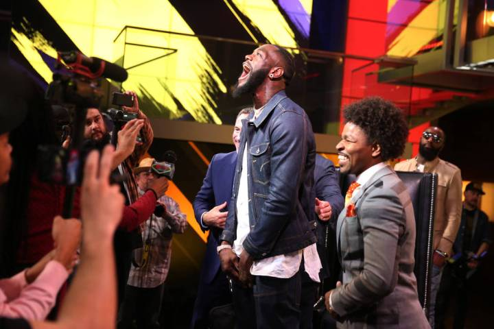 "Deontay ""The Bronze Bomber"" Wilder, center, during a press conference at the Fox Studios in Los ..."