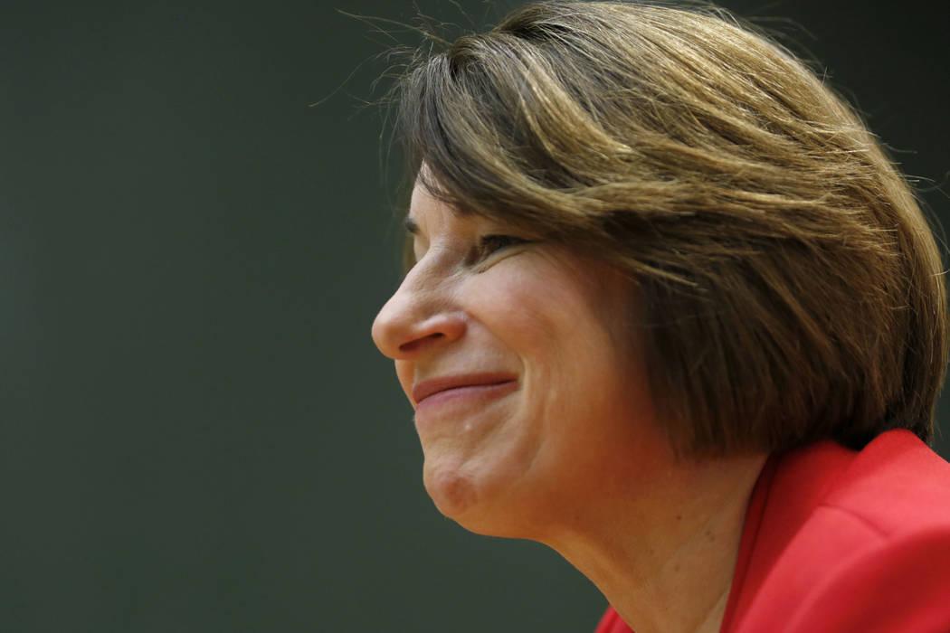 Democratic presidential candidate Sen. Amy Klobuchar, D-Minn., speaks during an editorial board ...
