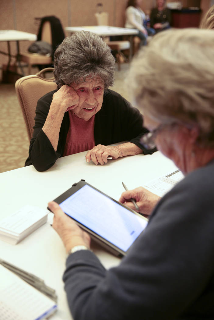 Joann Dunn, 99, checks in with volunteer Ramonda Haycocks, both of Henderson, during early voti ...