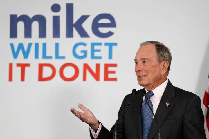 Democratic presidential candidate and former New York City Mayor Michael Bloomberg speaks to su ...