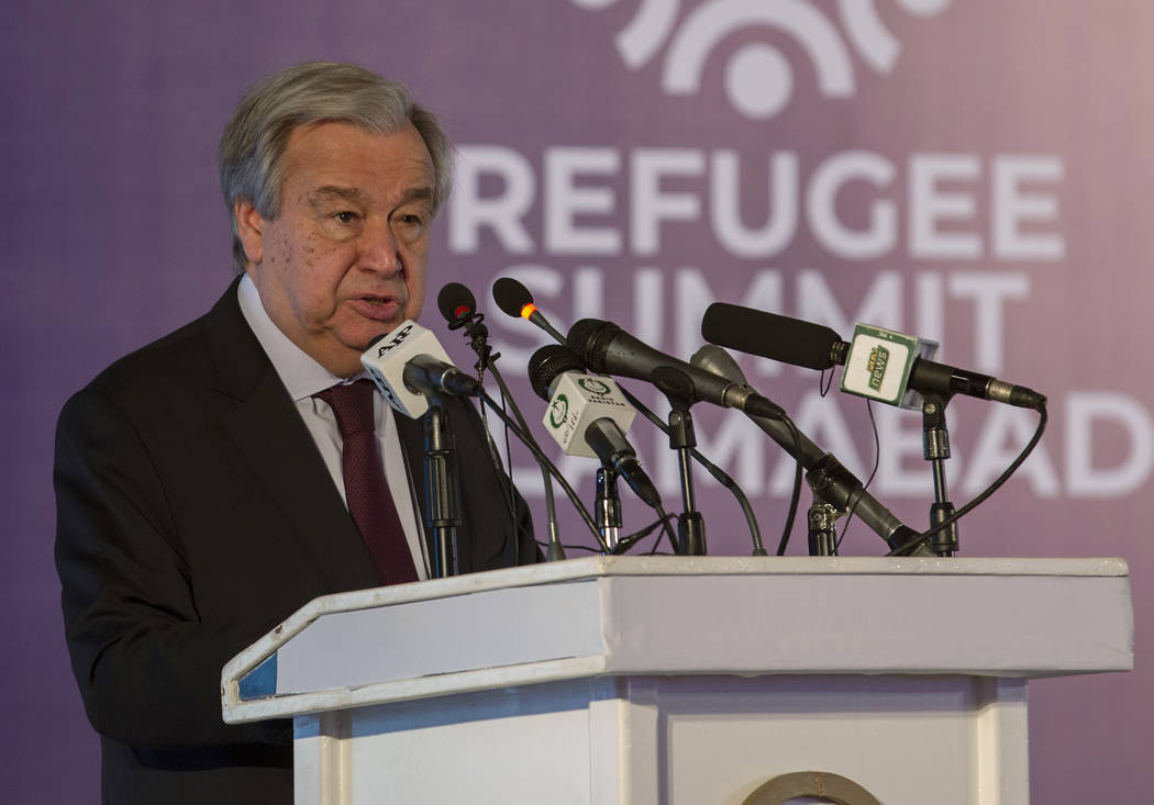 U.N. Secretary-General Antonio Guterres addresses the Refugee Summit in Islamabad, Pakistan, Mo ...