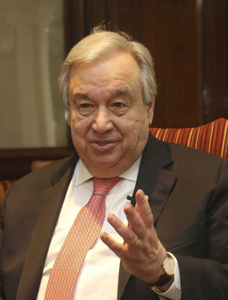U.N. Secretary General Antonio Guterres speaks to The Associated Press in Lahore, Pakistan, Tue ...