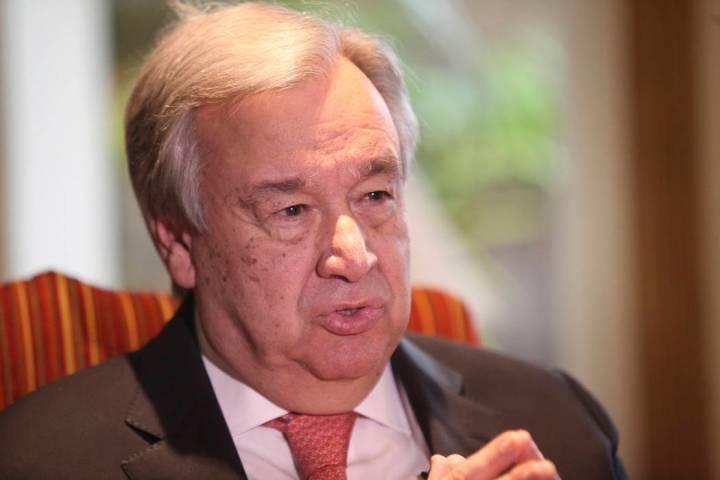 U.N. Secretary General Antonio Guterres speaks to The Associated Press in Lahore, Pakistan, Tue ...