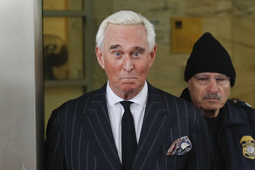 In a Feb. 1, 2019, file photo, former campaign adviser for President Donald Trump, Roger Stone, ...