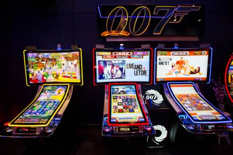 A pair of James Bond themed slot cabinets are seen in the Scientific Games showroom in Las Vega ...