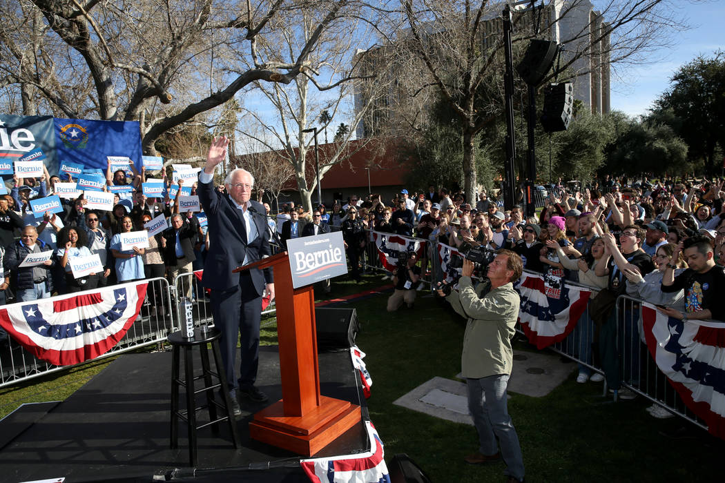 Vermont Sen. Bernie Sanders during a Get Out the Early Vote Rally at the UNLV Academic Mall in ...