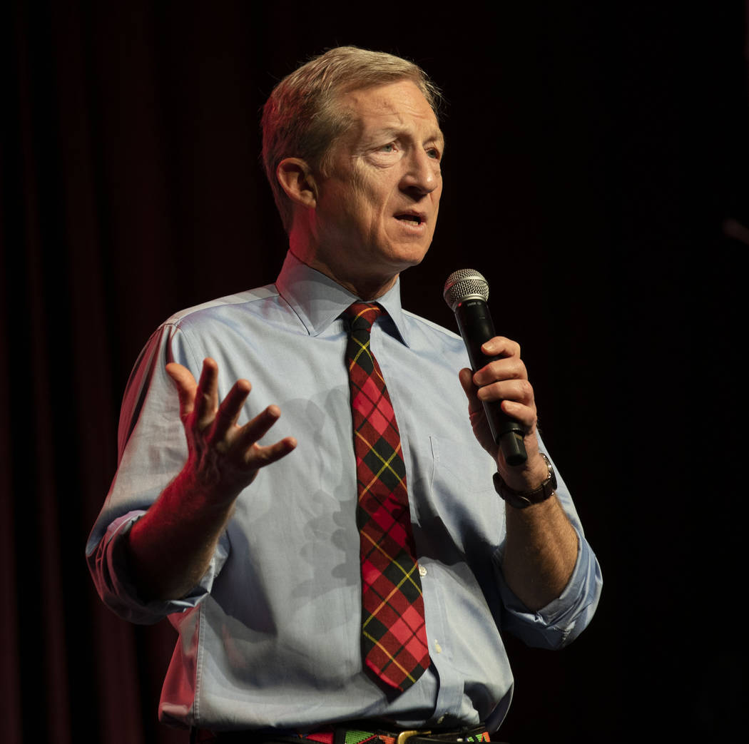 Democratic presidential candidate Tom Steyer speaks during a Care in Action Domestic Worker mee ...