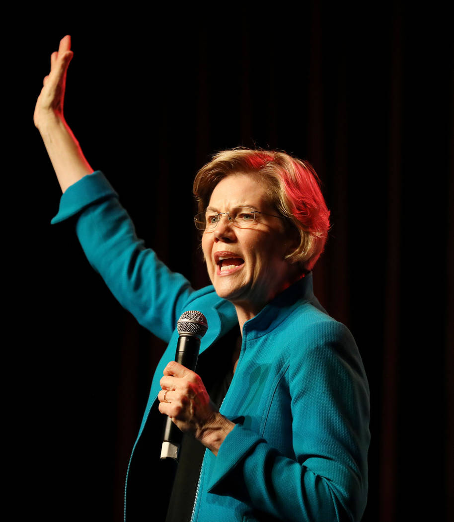 Sen. Elizabeth Warren speaks during a Care in Action Domestic Worker meeting at MGM Grand on Tu ...