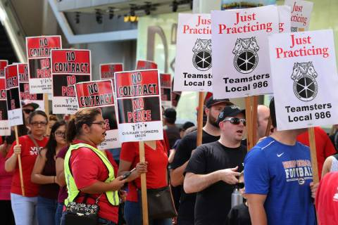 Culinary union members picket in front of the D Las Vegas on Friday, July 6, 2018, in downtown. ...