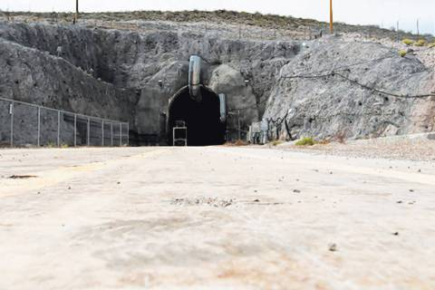 The north portal of the Yucca Mountain exploratory tunnel is seen Thursday, April 9, 2015. (Las ...