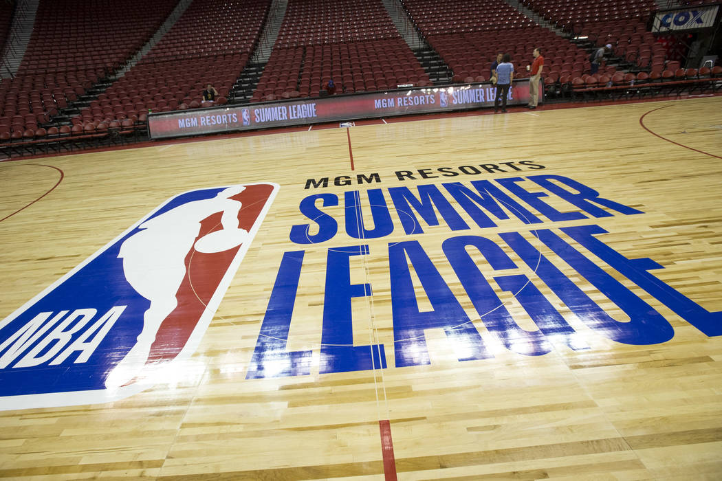 The court for the 2018 NBA Summer League basketball tournament at the Thomas & Mack Center ...