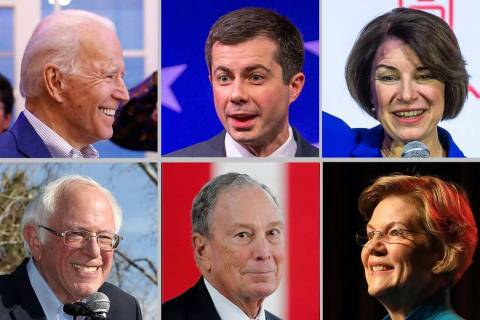 Clockwise, from top left: Joe Biden, Pete Buttigieg, Amy Klobuchar, Elizabeth Warren, Mike Bloo ...