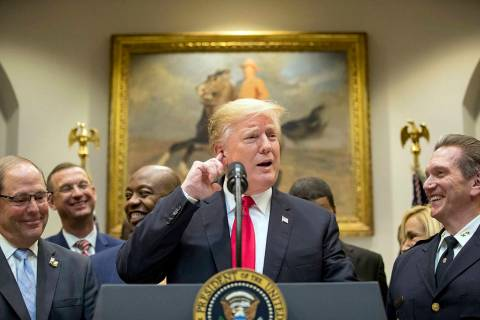 President Donald Trump speaks in the Roosevelt Room of the White House in Washington, Wednesday ...
