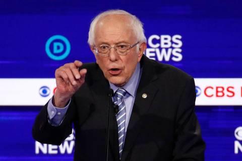 Sen. Bernie Sanders, I-Vt., speaks during a Democratic presidential primary debate at the Gaill ...