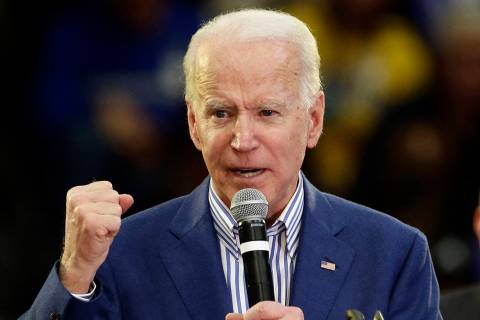 Former Vice President Joe Biden speaks at a campaign event at Saint Augustine's University in R ...