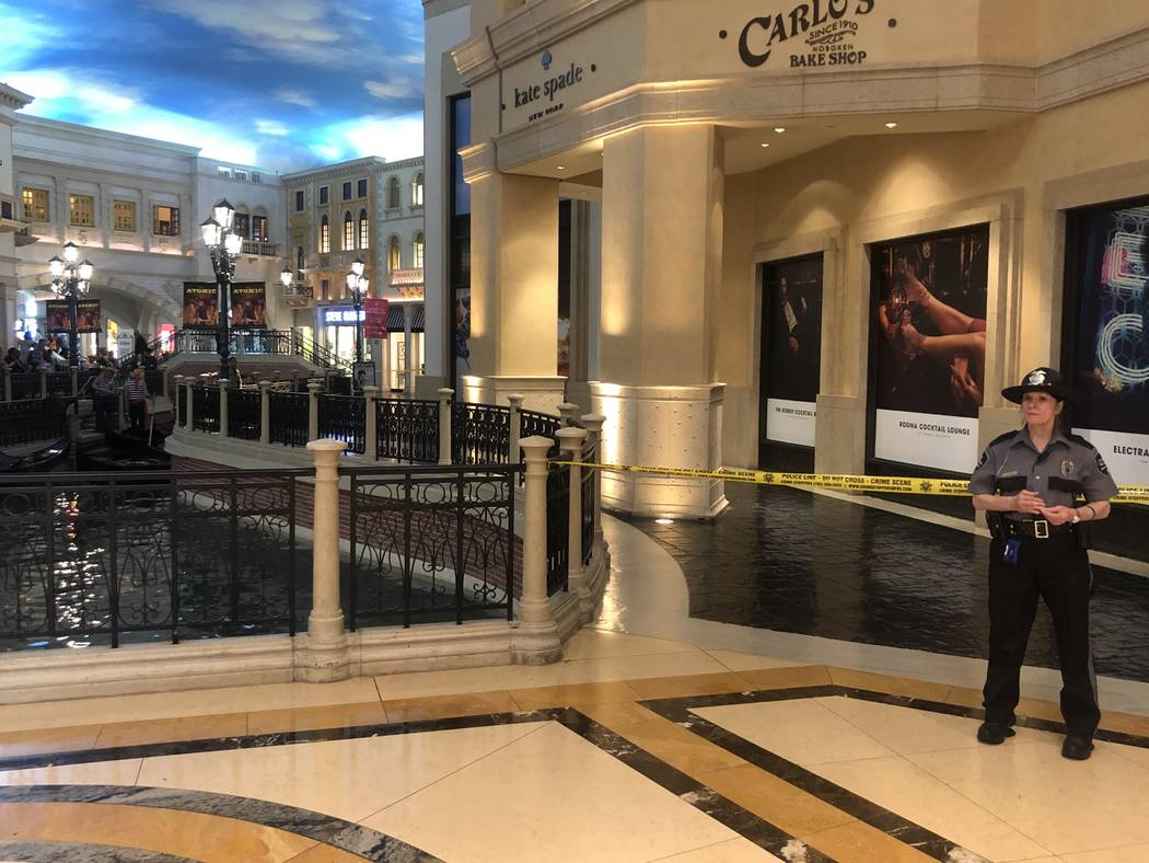 A crime scene in the Grand Canal Shoppes inside the Palazzo Saturday morning. Las Vegas police ...
