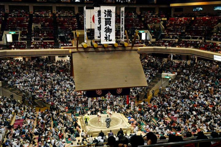 Banners are displayed on the first day of Summer Grand Sumo Tournament in Tokyo in May 2019. (Y ...