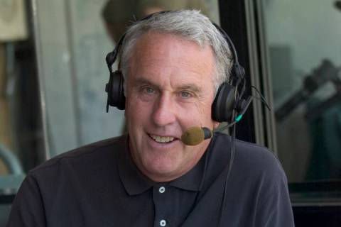 Former UNLV basketball announcer and current Oakland A's broadcaster Ken Korach sit in an annou ...