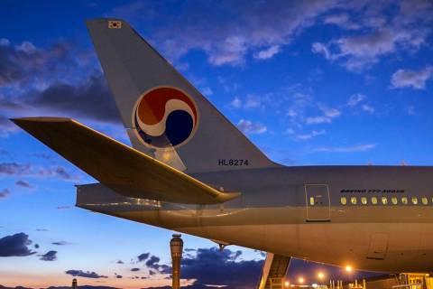 A Korean Air passenger jet is seen at McCarran International Airport in Las Vegas. (Benjamin Ha ...
