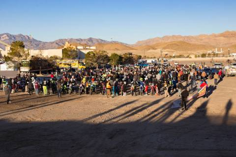 Racers line up for the Mint 400 motorcycle race, the first one since 1976, in Primm, Nevada, Sa ...