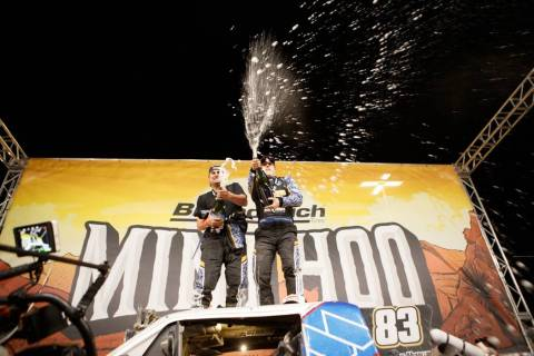 Luke McMillin, right, and co-driver Jason Duncan celebrate after winning the Mint 400 off-roar ...