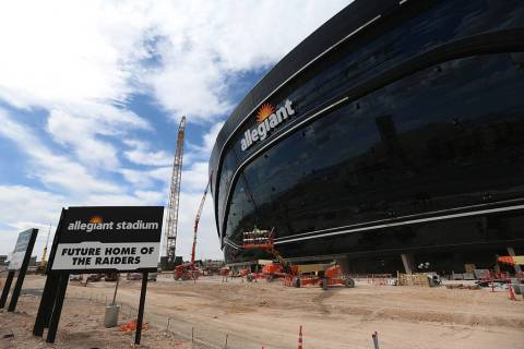 The newly installed signage at the Raiders Allegiant Stadium in Las Vegas, Saturday, March 7, 2 ...