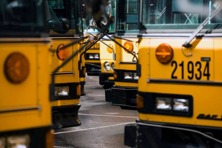 Rows of buses line up at Clark County School District. (Review-Journal file photo)