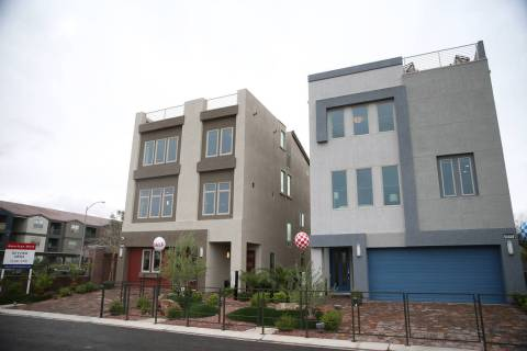 Model homes in the American West Skyview Mesa residential community in Las Vegas, Friday, March ...