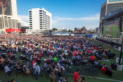 The crowd at a watch party for the Super Bowl LIV at the Downtown Las Vegas Events Center in La ...