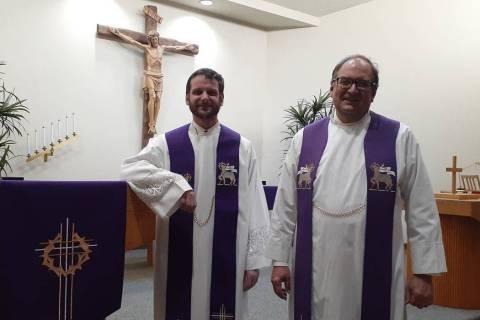 Pastors Paul Kolander, left, and Head Pastor Don Pieper, serve the congregation at Green Valley ...
