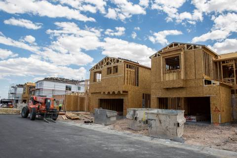 Frames of new Century Communities homes in southwest Las Vegas on Wednesday, Aug. 9, 2017. (Pat ...