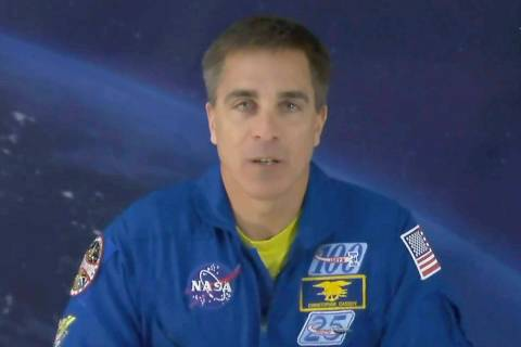 In this image from video made available by NASA, astronaut Chris Cassidy speaks during an inter ...