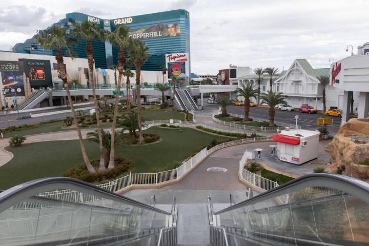 The courtyard outside of Tropicana is empty on Wednesday, March 18, 2020, in Las Vegas. (Ellen ...
