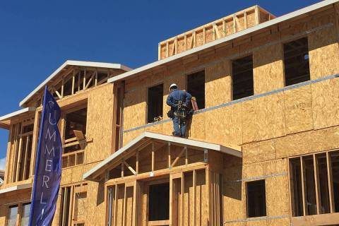 Townhomes are under construction in Las Vegas' Summerlin community on Tuesday, March 17, 2020. ...