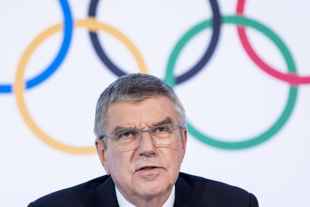 International Olympic Committee (IOC) president Thomas Bach from Germany speaks during a press ...