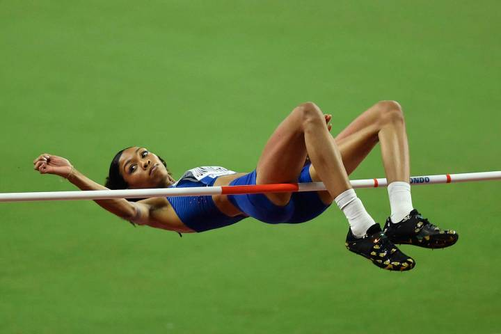 Vashti Cunningham, of the United States, makes an attempt in the women's high jump final during ...