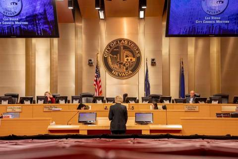 Las Vegas Mayor Carolyn Goodman delivers a statement during a public meeting at the Las Vegas C ...