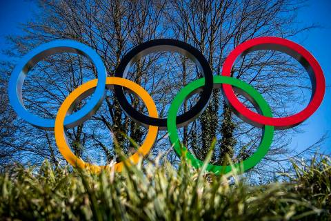 The Olympic rings are pictured at the entrance of the IOC, International Olympic Committee head ...