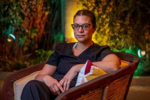 Nurse Geoconda Hughes at home on Monday, March 23, 2020 in Las Vegas. (L.E. Baskow/Las Vegas Re ...