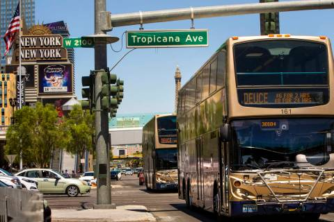 Several RTC buses pass the New York-New York driving down the Strip on Tuesday, Aug. 13, 2019 i ...