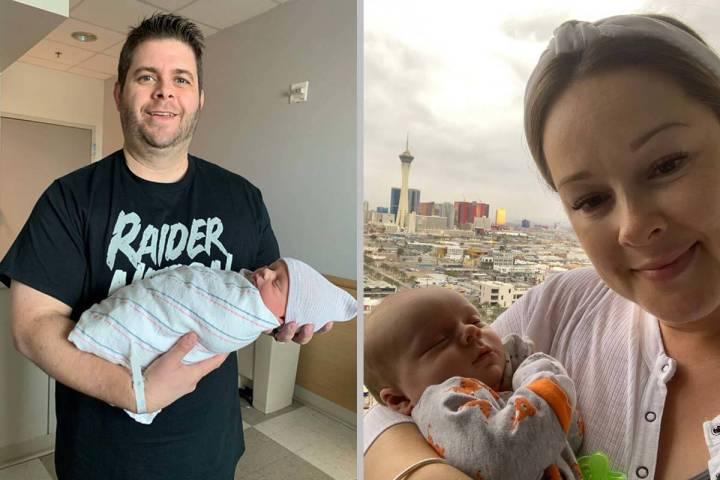 Dan Saley, left, and wife Stefanie Saley are seen holding newborn son, Raider. The baby boy was ...