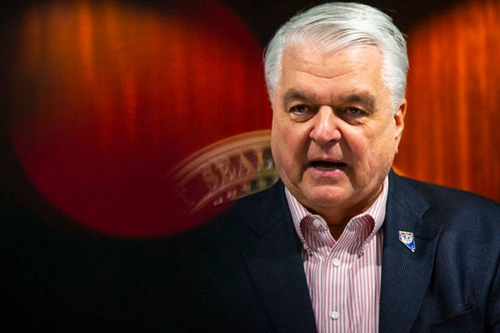 Gov. Steve Sisolak announces a state of emergency at the Sawyer Building in Las Vegas on Thursd ...