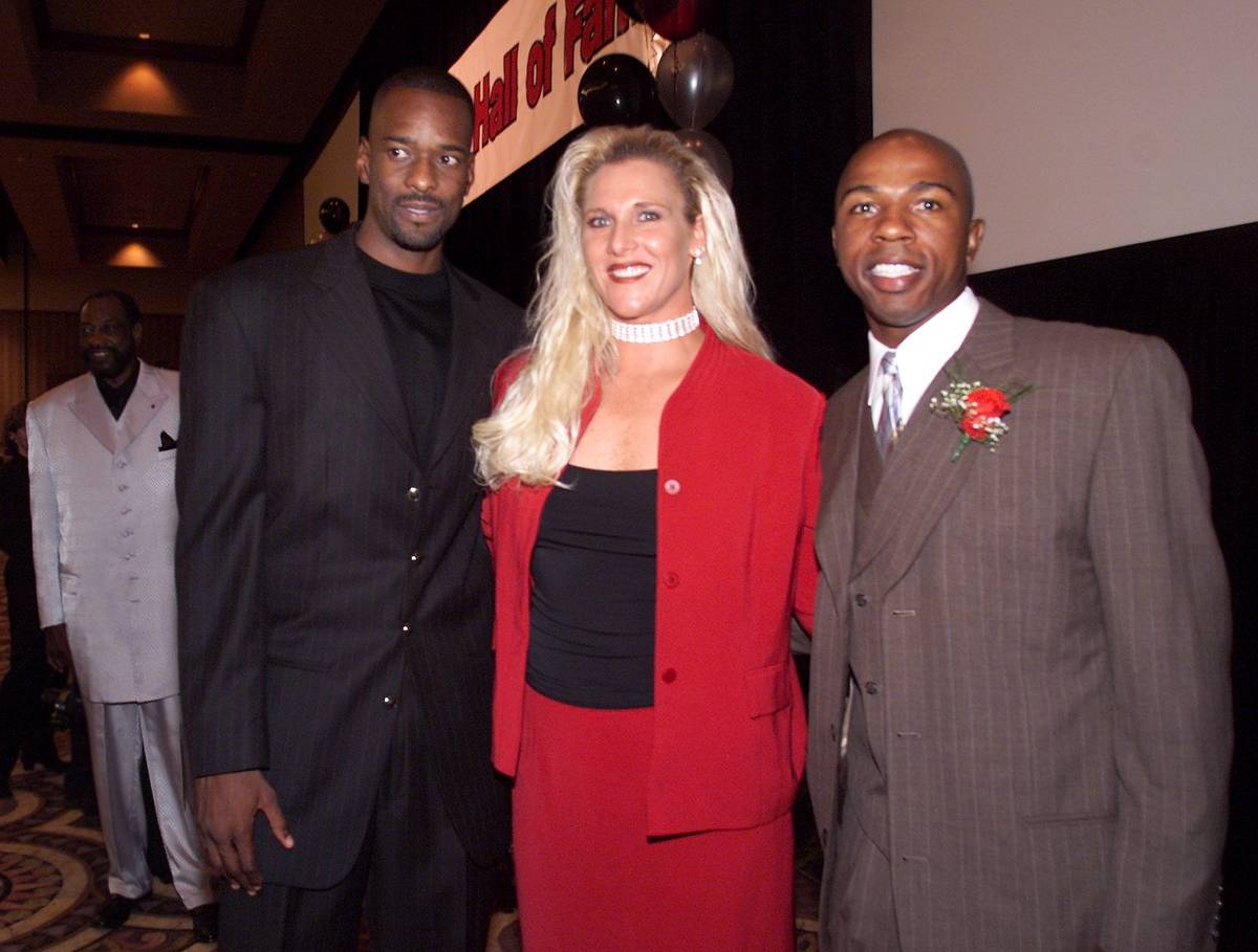 UNLV Athletic Hall of Fame Inductees, from left, small forward Stacey Augmon (1987-91), pitcher ...
