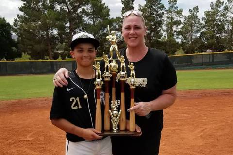 Lori Harrigan and son Shawn, left. Shawn played for the 2019 state champion Henderson Paseo Ver ...