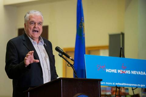 Gov. Steve Sisolak speaks during a press conference to announce the closure of all nonessential ...