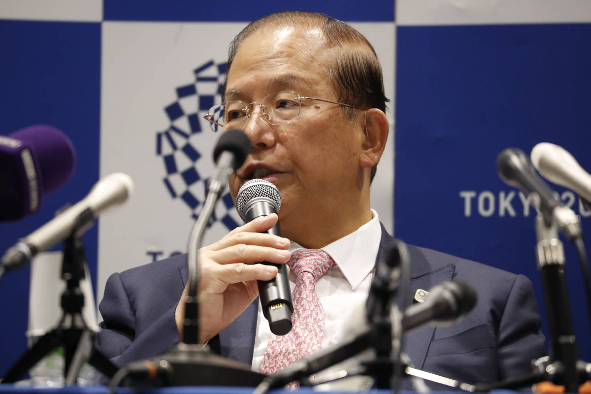 Tokyo 2020 Organizing Committee CEO Toshiro Muto speaks during a news conference after a Tokyo ...