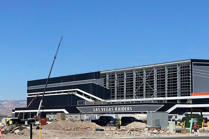 Work continues Monday, March 30, 2020, at the Raiders headquarters facility in Henderson. (Mick ...