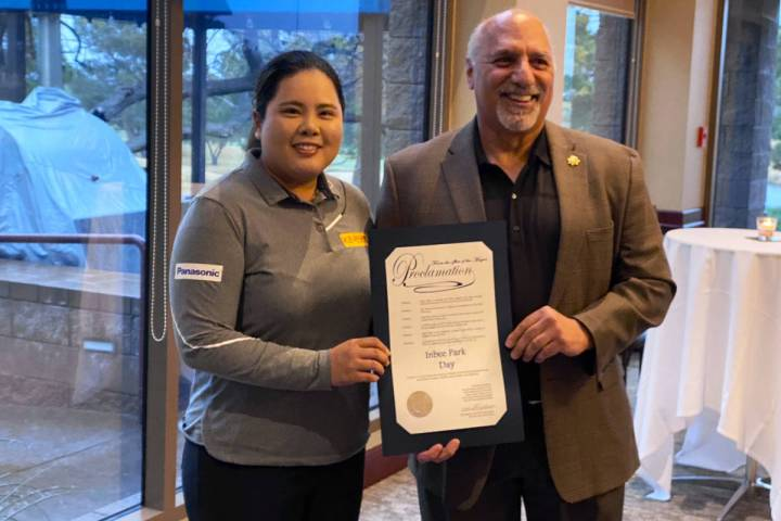 "LPGA Tour player of the decade Inbee Park accepts the ""Inbee Park Day"" proclamation from Las Ve ..."